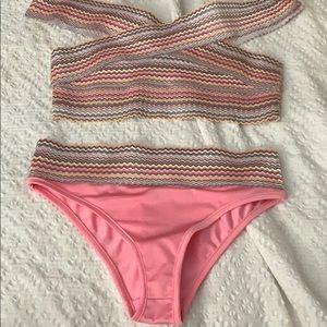 NEVER WORN Misguided pink bandaged bikini